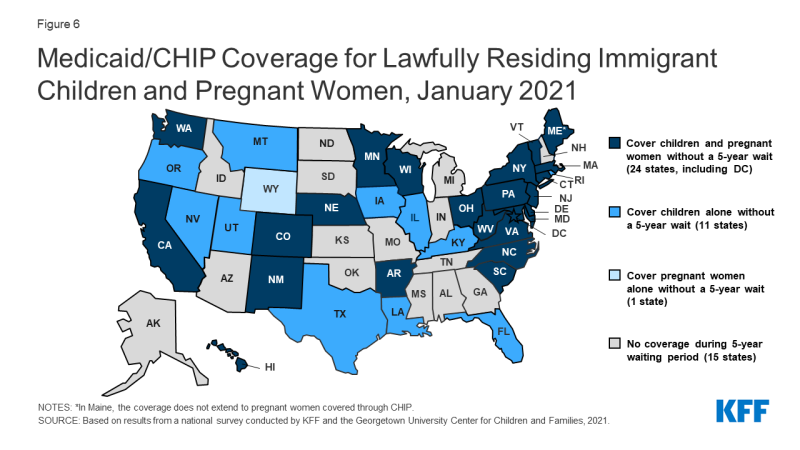 Figure 6: Medicaid/CHIP Coverage for Lawfully Residing Immigrant Children and Pregnant Women, January 2021